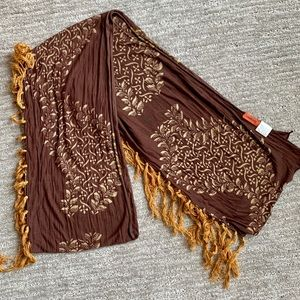 Chan Luu brown floral tasseled scarf